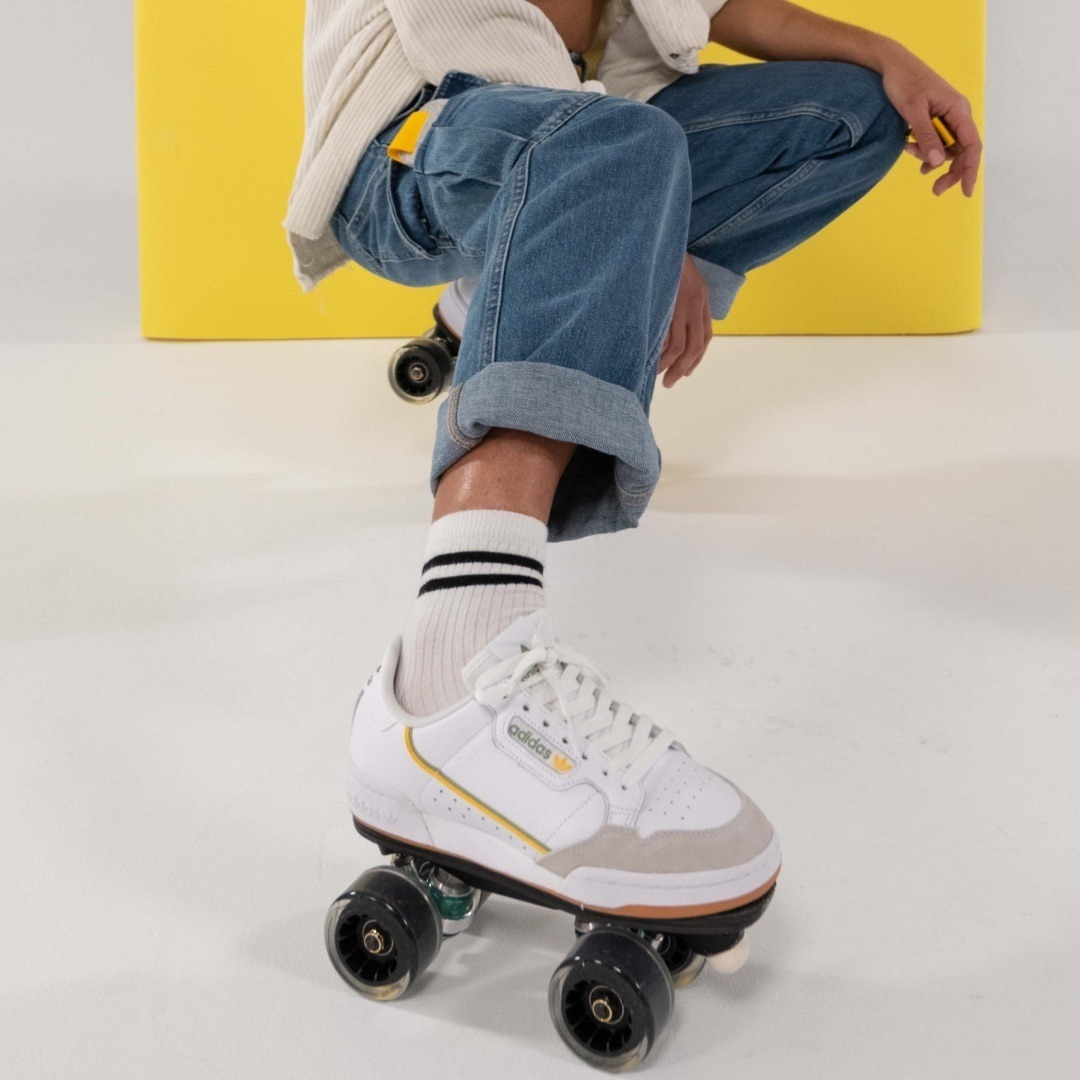 THAT&HOW WE ROLL⁠ Custom: Adidas Continental - Personalized Premium rolling part⁠ Model: @mira_rym⁠ Photo: @amaury_cibot⁠ ⁠ ⁠ ⁠