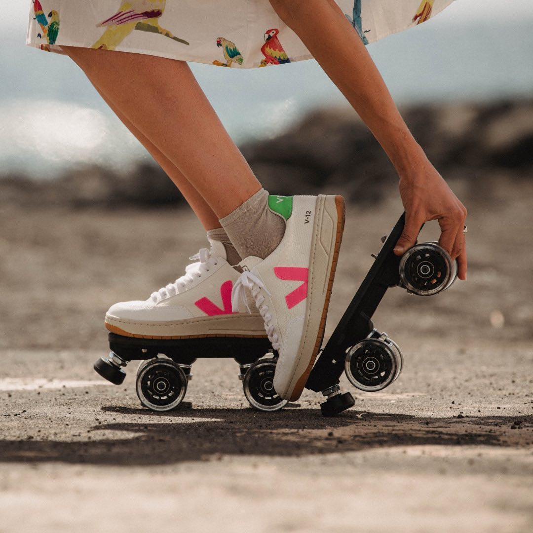 BEYOND THE ROAD Skates: Veja V-12 - Iconic rolling part Model: @najete88 Photo: @amaury_cibot  Clothes: @gkeroparis