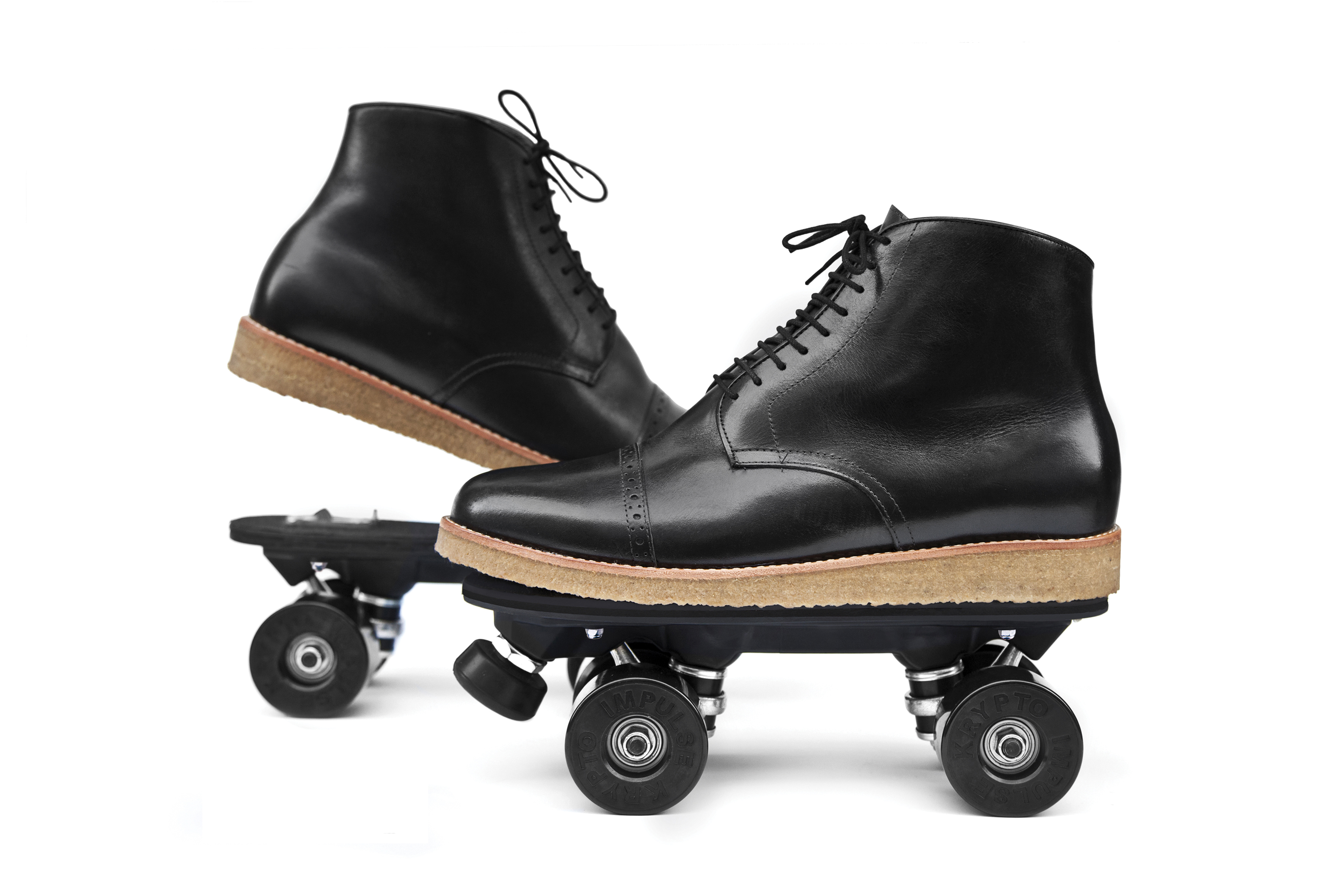 Black Pantanal Model, dress shoes  Clip on Skates adapted with the On wheelz systèm